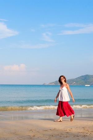 girl runs at the sea Stock Photo - 7277066