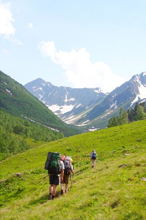 Hiker in Caucasus mountains Stock Photo - 7356985