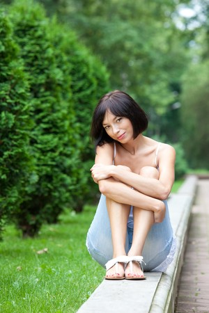 Pretty woman in the garden  photo