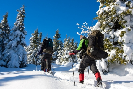 winter sports: Hiker in winter in mountains Stock Photo