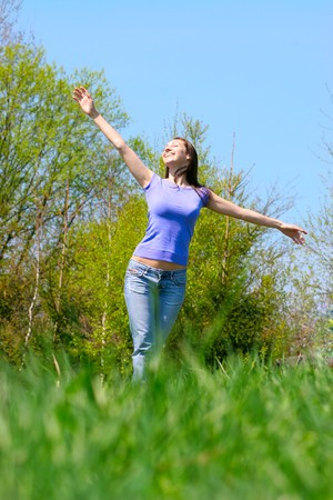 Girl relaxing on the meadow Stock Photo - 7726922