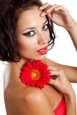 elegancy: Beautiful woman with flower  Stock Photo