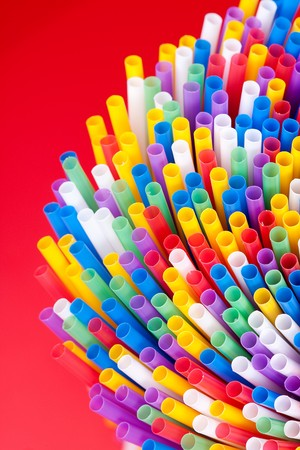 plastic art: Colorful drinking straws background Stock Photo