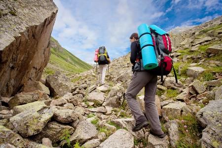 caucasus: Hiker in Caucasus mountains
