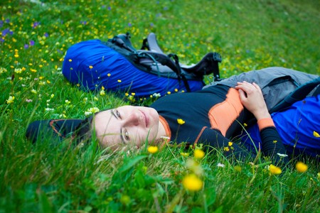 Girl relaxing on the meadow Stock Photo - 7734171