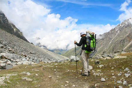 Hiker in Caucasus mountains Stock Photo - 7676310