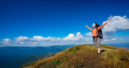 Hiking in the Carpathian mountains Stock Photo