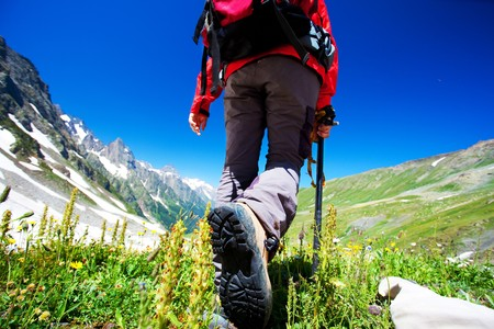 backpackers: Hiker in Caucasus mountains
