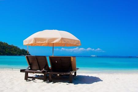 sun shade: At the beach Stock Photo