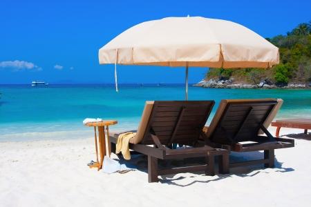 parasols: At the beach Stock Photo