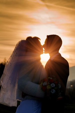 married together: Bride and groom on their wedding day Stock Photo