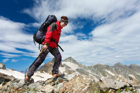 Hiker girl in Caucasus mountains  photo