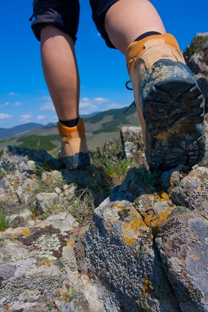 hiking boots: hiking Stock Photo