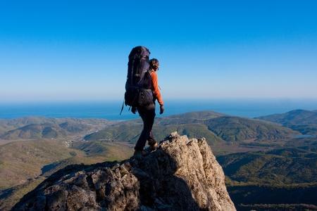 climber: Wandelen in de bergen Crimea  Stockfoto