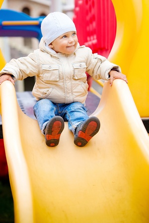 the lovely boy: Happy boy plays at park Stock Photo
