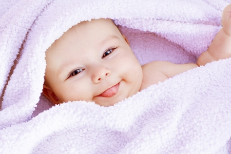 baby towel: baby with towel