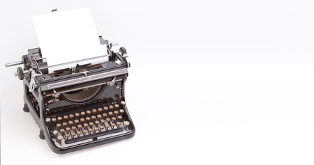 Sheet of paper inserted into the vintage typewriter photo