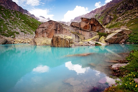 Lake in mountains photo
