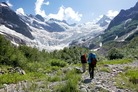 caucasus: Hikers in Caucasus mountains