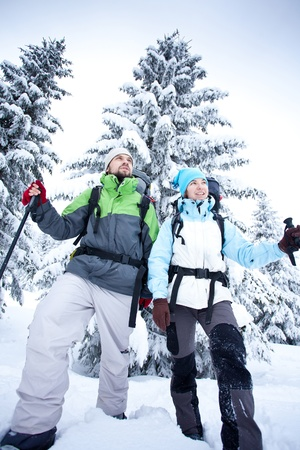 backpacking: Hiker walks in snow forest Stock Photo