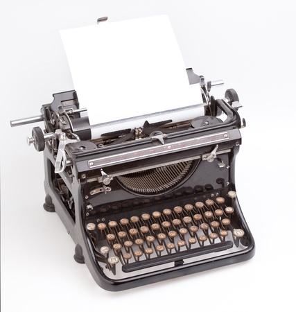 typewriter key: Sheet of paper inserted into the vintage typewriter