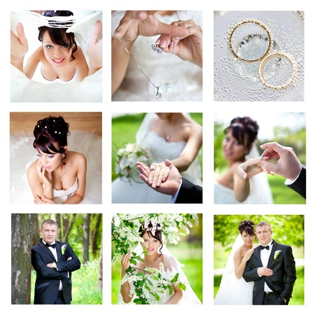wedding portrait: Nine wedding images joint into collage  Stock Photo