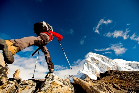 backpackers: Hiking in Himalaya mountains