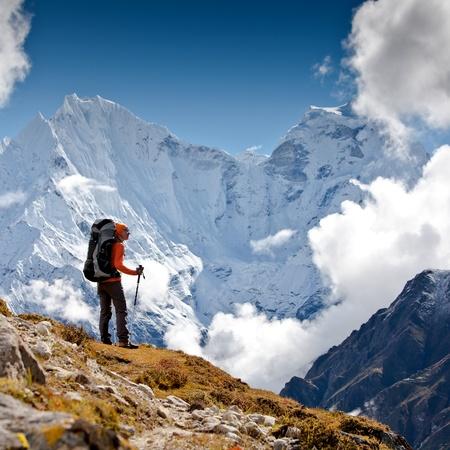 hike: Hiking in Himalaya mountains