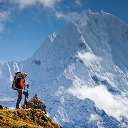 Hiking in Himalaya mountains Stock Photo - 13459882