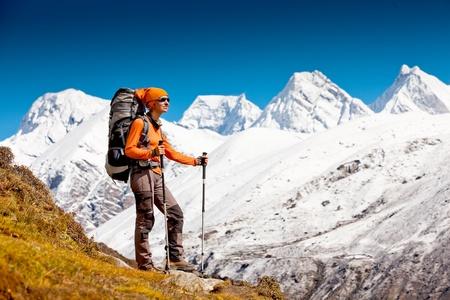 Hiking in Himalaya mountains photo
