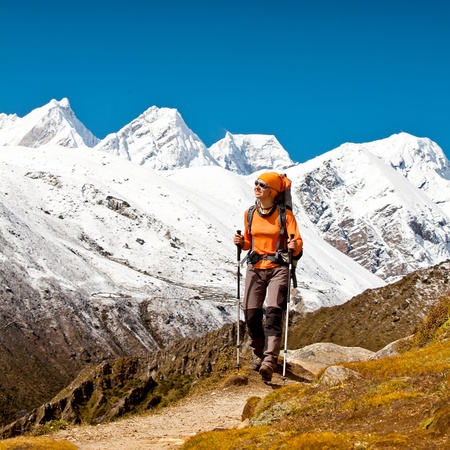 Hiking in Himalaya mountains photo