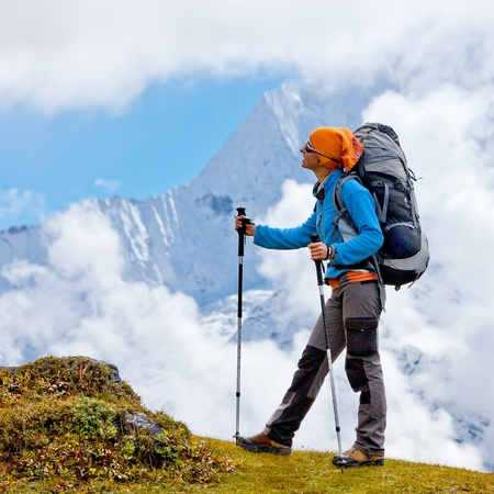 hikers: Hiking in Himalaya mountains