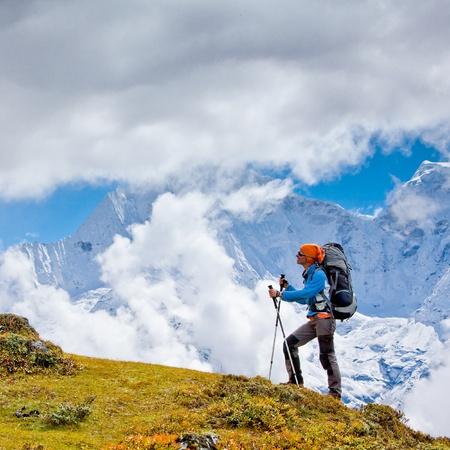 trekker: Hiking in Himalaya mountains