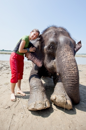 Bathing with elephant photo