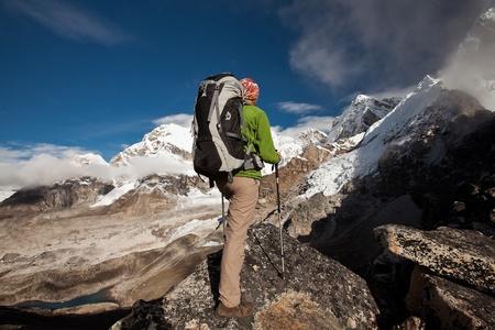 mountain climbing: Hiking in Himalaya mountains
