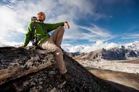 히말라야 산맥에서 하이킹