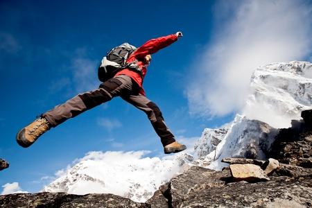 ヒマラヤ山脈でのハイキング 写真素材