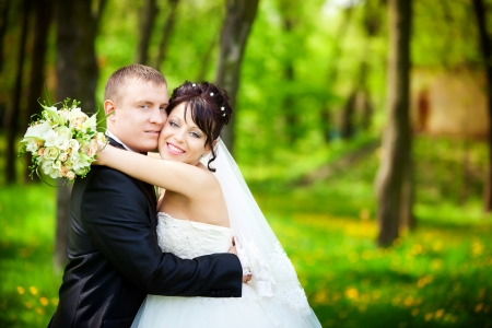 Bride and groom on their wedding day Stock Photo - 13789717