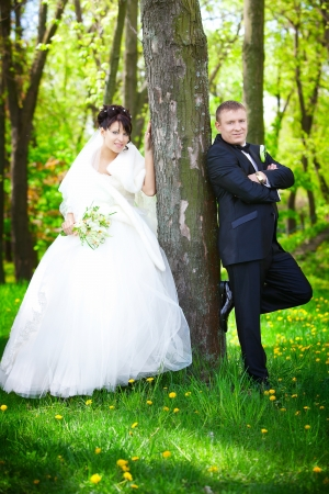 Bride and groom on their wedding day  Stock Photo - 13789727
