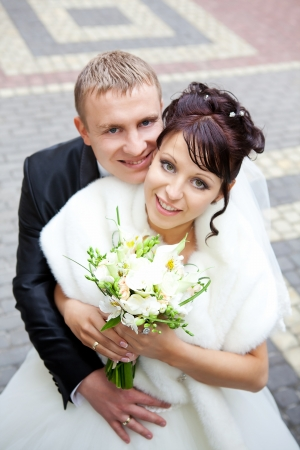 married together: Bride and groom on their wedding day