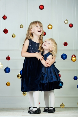 Girls at Christmas time at studio photo