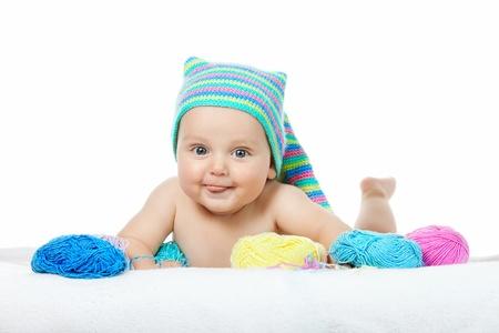 nursing baby: Cute baby boy on white background