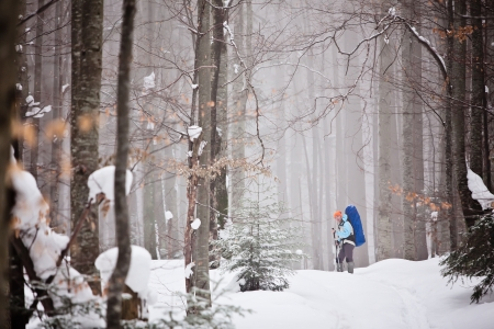 Hiker in winter mountains snowshoeing Stock Photo - 15453660