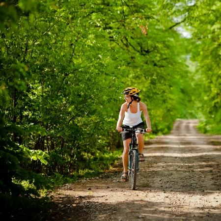 Biker on the forest road Stock Photo - 15453638