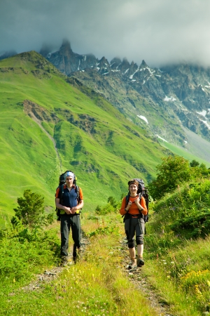 Trekking in Caucasus mountains Georgia, Svaneti region