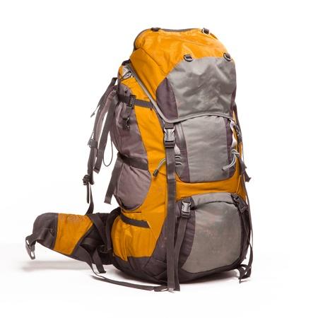 Tourist backpack on white background Фото со стока