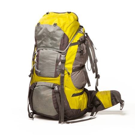 Tourist backpack on white background Stock Photo