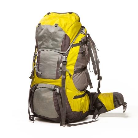 mochila: Turismo mochila sobre fondo blanco