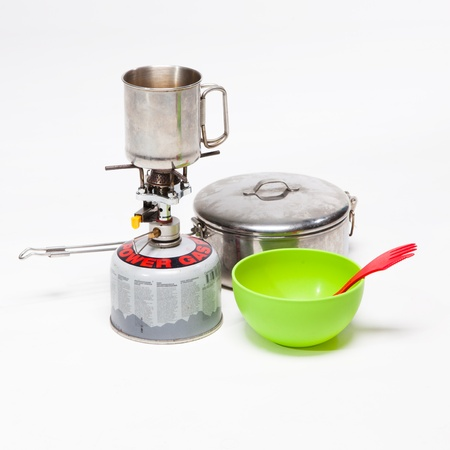 Cooking tourist equipment during camping on white background Stock Photo - 18671175
