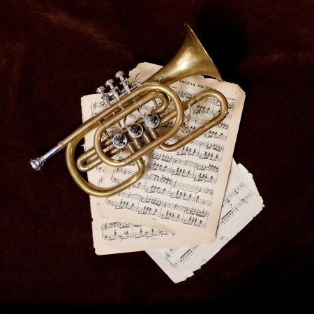 musical instrument parts: Vintage trumpet is lying between paper sheets with notes